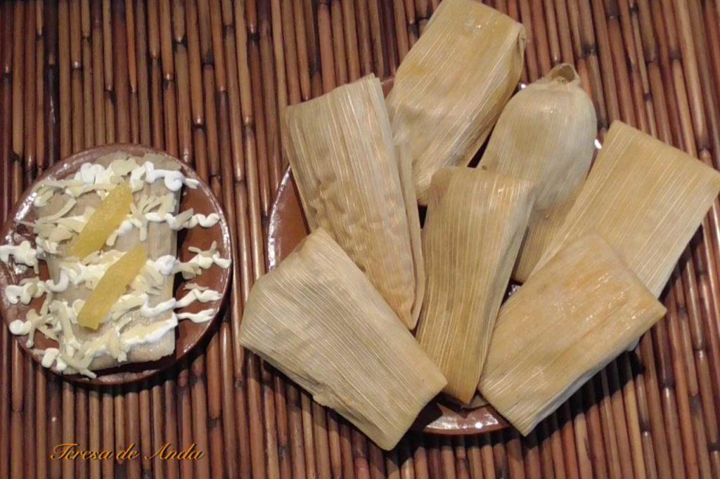 Pumpkin tamales with chicken